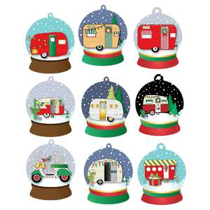 christmas camper snow globe gift tags