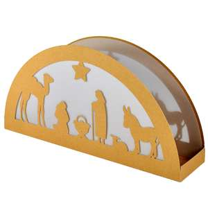 animals nativity rising moon lantern