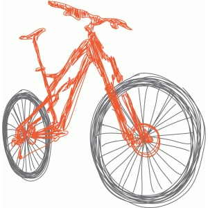 mountain bike orange sketch