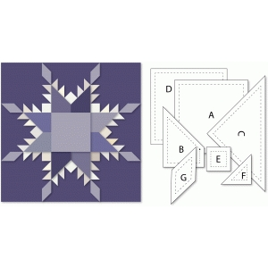 feathered star 12x12 block for sewing print & cut