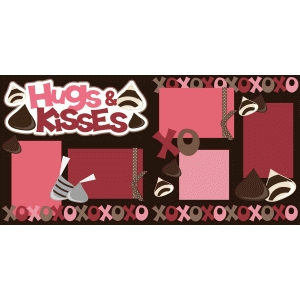 hugs and kisses 2 page scrapbook kit