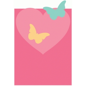 heart butterfly folding journaling card