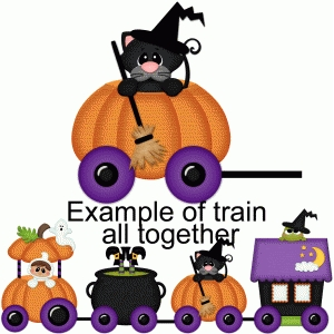 halloween train cat in pumpkin pnc