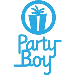 'party boy' party phrase logo set