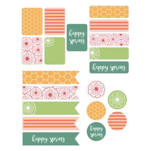 happy spring planner stickers
