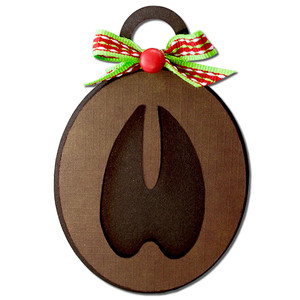 deer reindeer track ornament tag