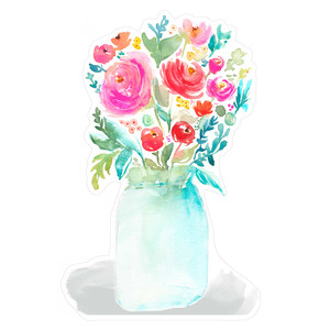 watercolor mason jar with flower bouquet