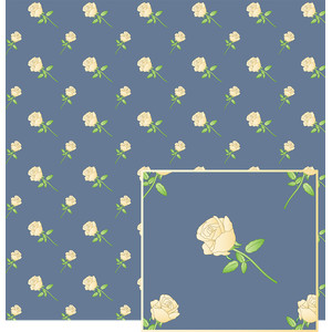 cream roses on blue pattern