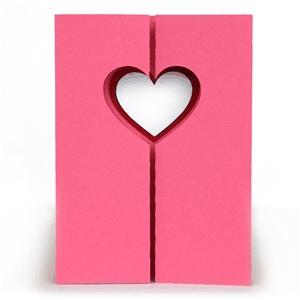 3d double gate fold window card - heart