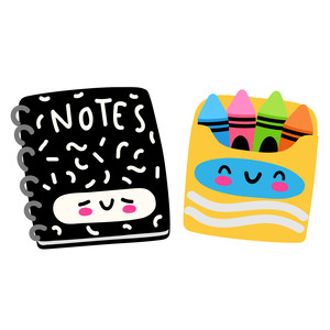 kawaii notebook and crayons