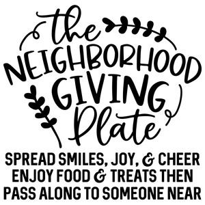 the neighborhood giving plate