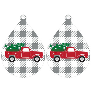 buffalo plaid truck earrings