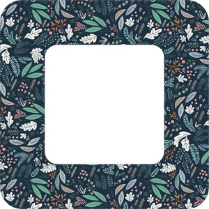 winter floral square frame