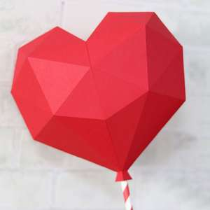 low poly heart balloon