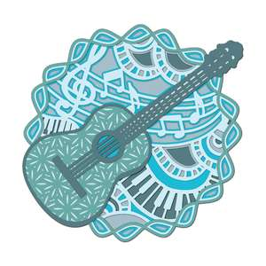 multi layer mandala music instrument guitar
