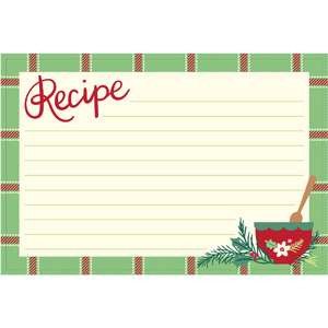 holiday cookbook recipe card plaid