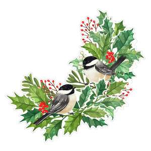 holly branches with chickadee birds painting