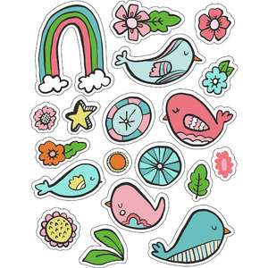 ml birds and rainbows stickers