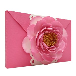 envelope with 3d peony flowers