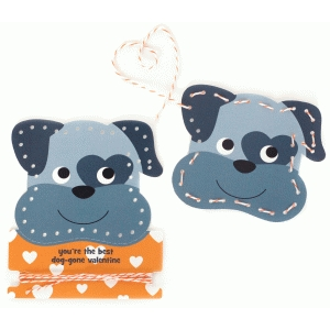 dog valentine lace-up card