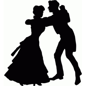vintage dancing couple silhouette