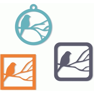3 bird on branch cutout tags