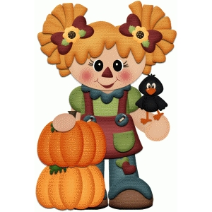 scarecrow girl fall autumn print & cut