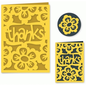 floral thanks folded card