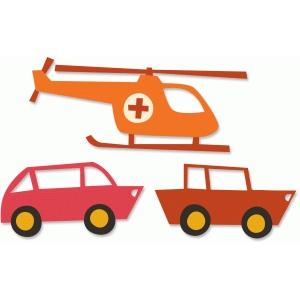 cars and helicopter
