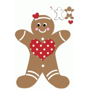 christmas polka dot heart gingerbread man