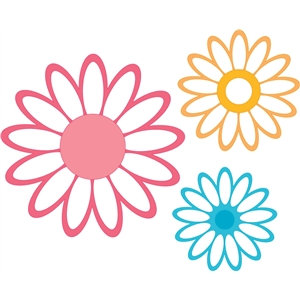 outlined flowers-set of 3