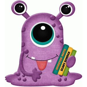 purple school monster holding books