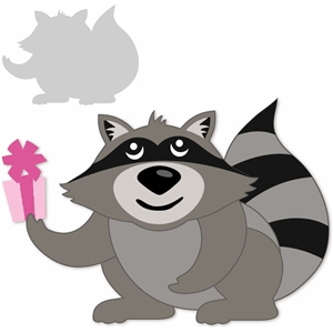 animal raccoon with present