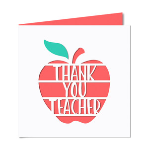 'thank you teacher' apple cutout card
