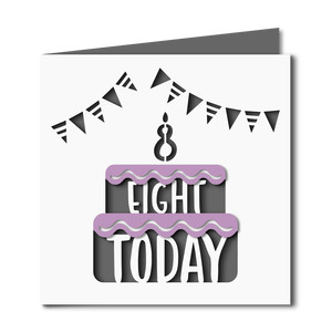 8 today cake cutout birthday card