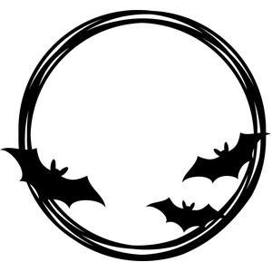 halloween bats circle frame