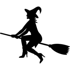 witch flying on the broom silhouette