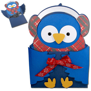blue snow bird hug gift card holder