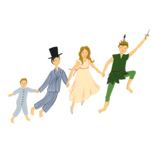 peter pan, wendy, john, and michael flying