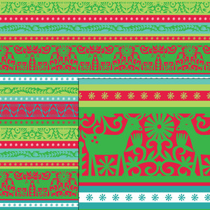 nordic holiday red and green reindeer stripe