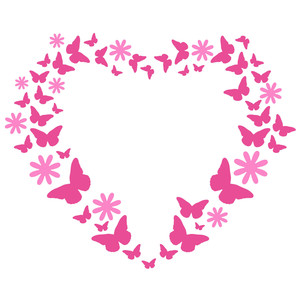 butterfly and flowers heart