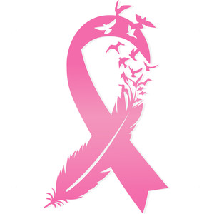 breast cancer feather ribbon