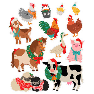 christmas farm animal stickers