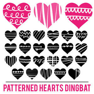 patterned hearts dingbat font