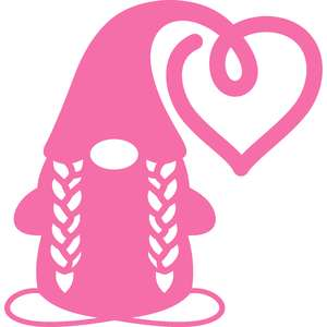 gnome with braids and heart hat