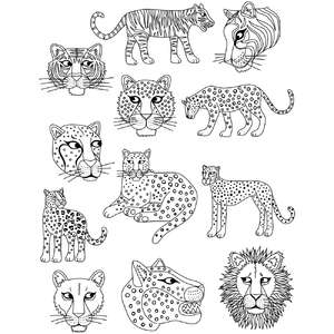 big cat coloring stickers
