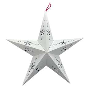 eyelet-look cutouts on 3d hanging star