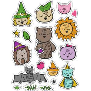 ml boo halloween animals stickers