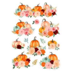 fall pumpkins and florals watercolor stickers