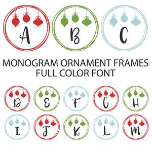ornament wire frame full color monogram font
